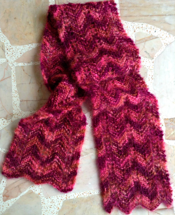 Knitting Patterns For Mohair Scarves : Free Pattern   Eyelet ZigZag Garter Stitch Knit Scarf in Mohair (reversible) ...