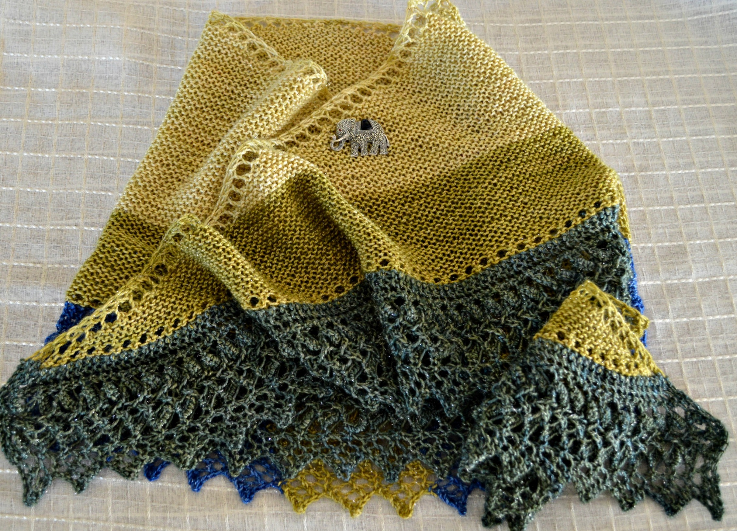 A Shawl for Fall with an Antique Knit-on Lace Edging | This Man Knits