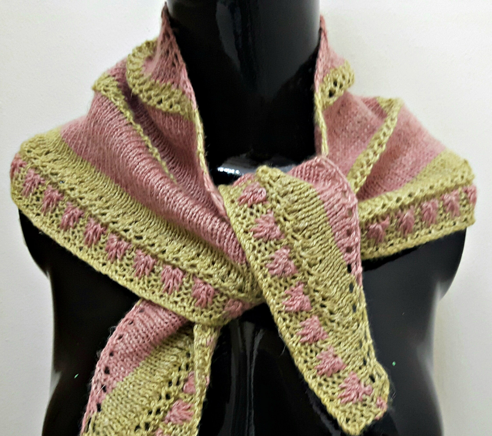 Raspberries and Lime: Linen-Blend Bandana-Style Hand Knit Scarf ...