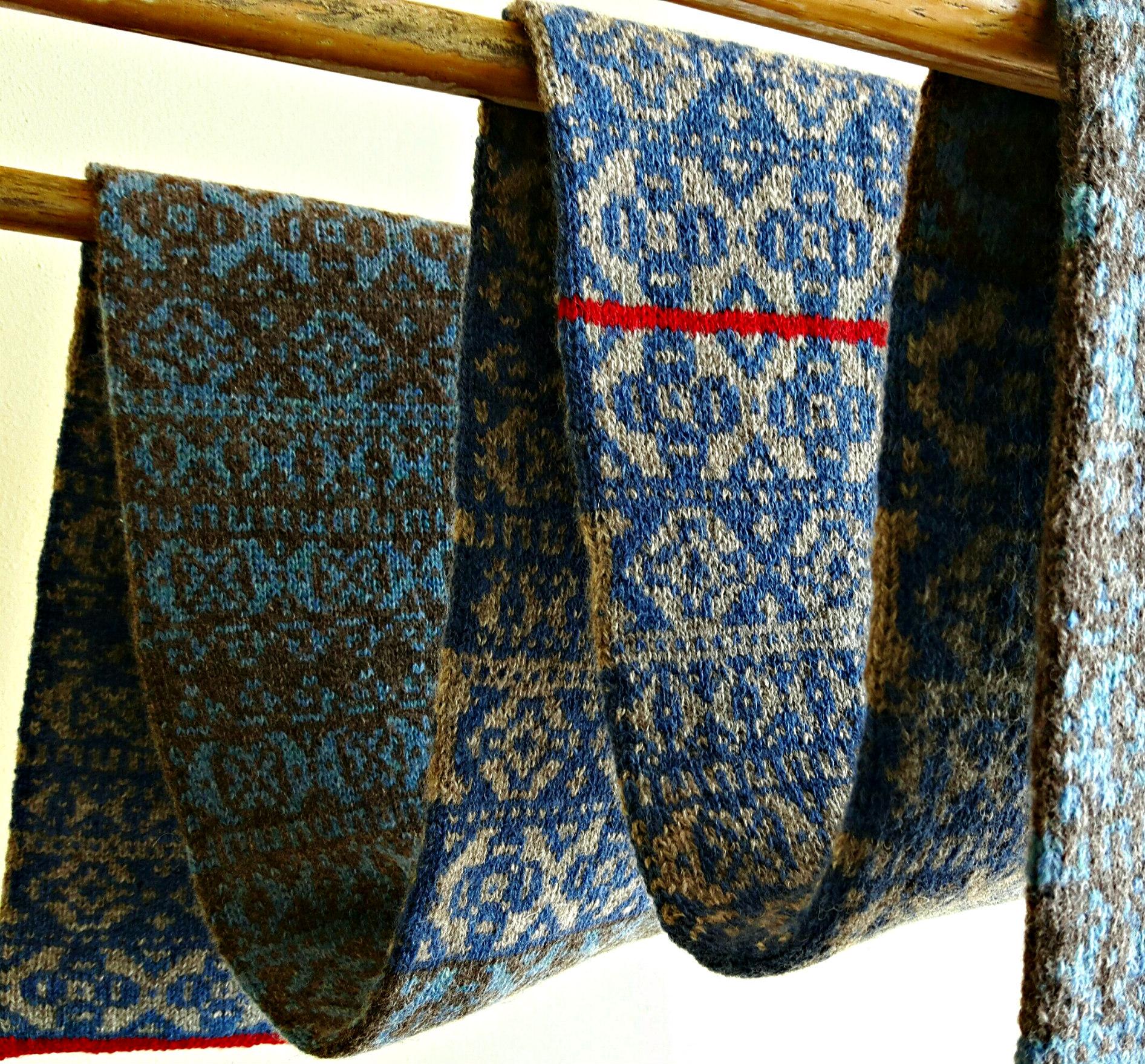 Fair Isle Hand Knit Scarf in Blues and Greys | This Man Knits
